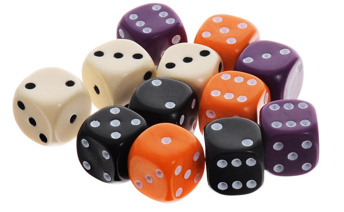 Pandoras Box Набор кубиков для настольных игр цвет мультиколор 12 шт02DG151_фиолетовый, черный, оранжевый, белыйНабор игральных кубиков Pandoras Box предназначен для настольных игр. Набор состоит из 12 шестигранных кубиков. На каждую сторону кубика нанесены в виде точек числа от 1 до 6. Целью броска кубика является демонстрация случайно определенного числа, каждое из которых является равновозможным благодаря правильной геометрической форме. Игральные кубики выполнены из прочного пластика.