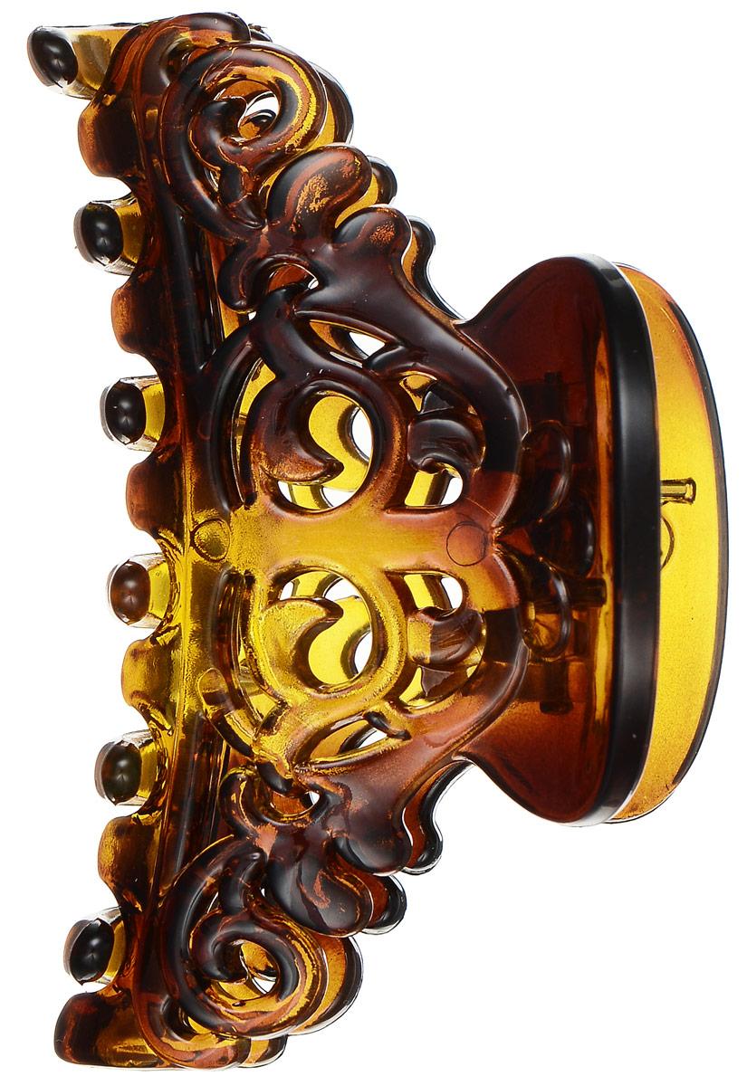 Заколка-краб Mitya Veselkov, цвет: коричневый. KRAB3-G2BROKRAB3-G2BROОригинальная заколка-краб Mitya Veselkov изготовлена из качественного пластика с перфорацией в виде узоров. Удобный зажим заколки надежно фиксирует волосы и не травмирует их. С помощью заколки-краба можно создавать различные прически для неповторимого образа. Оригинальность и удобство заколки-краба для волос делают ее практичным и модным аксессуаром.