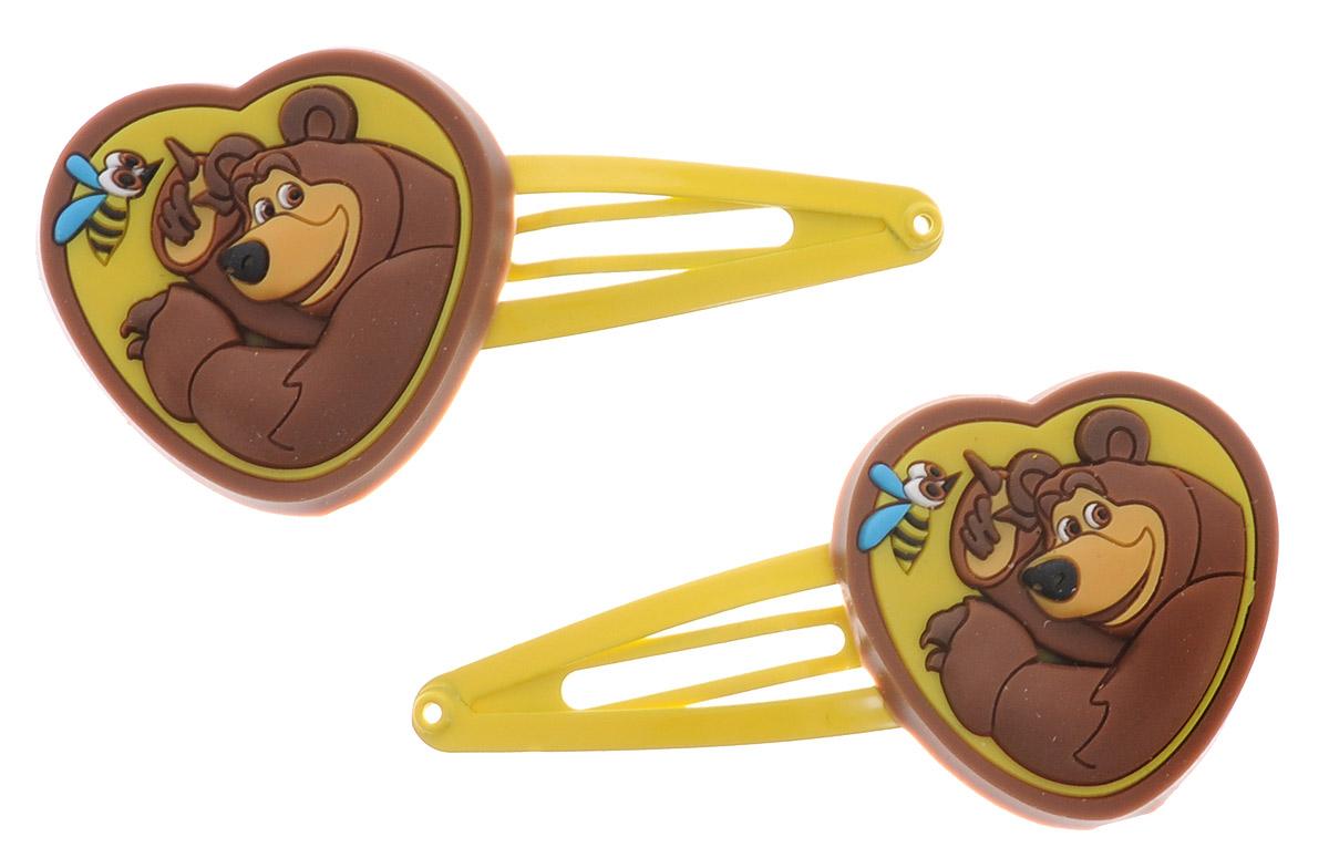 Маша и Медведь Заколка для волос Сердечко Миша цвет желтый 2 шт ( 332973_желтый )