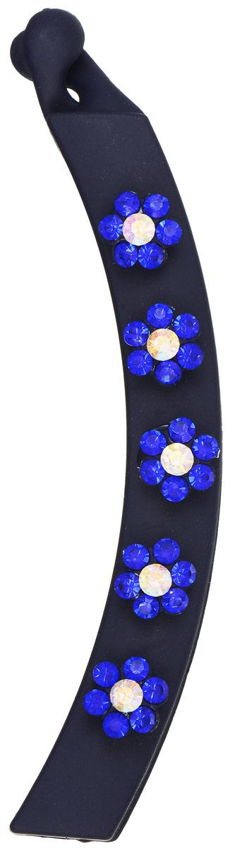 Заколка-банан Mitya Veselkov, цвет: темно-синий. KRAB5-DARKRAB5-DARОригинальная заколка-банан Mitya Veselkov изготовлена из качественного пластика. Заколка украшена цветочками, составленными из страз. Удобный зажим заколки надежно фиксирует волосы и не травмирует их. С помощью заколки-банана можно создавать различные прически для неповторимого образа. Оригинальность и удобство заколки-краба для волос делают ее практичным и стильным аксессуаром.