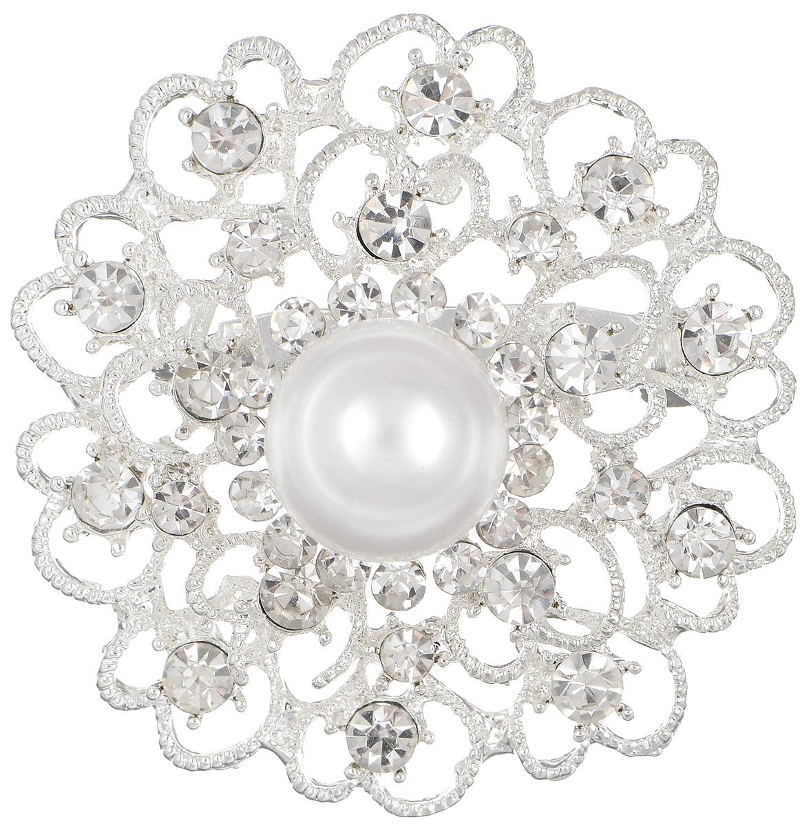 Брошь женская Mitya Veselkov, цвет: серебряный. ZAKN15-WHIZAKN15-WHIОригинальная брошь Mitya Veselkov изготовлена из качественного металла. Она станет отличным дополнением к вашему стилю. Брошь выполнена в виде красивого цветка, украшенного стразами и крупным камнем в виде жемчужины. Брошь надежно и легко фиксируется на вашей одежде с помощью замка-булавки. Оригинальный дизайн подчеркнет ваш образ и завершит его.