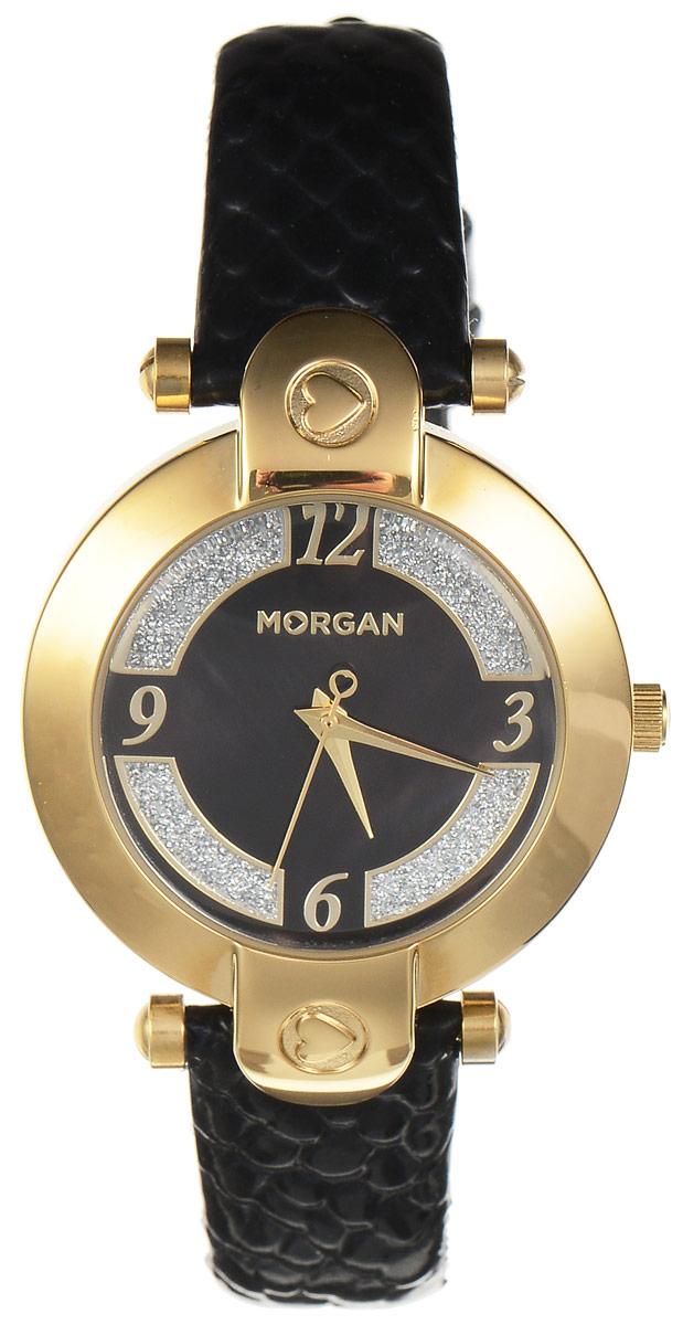 Часы наручные женские Morgan, цвет: золотой, черный. M1134BGBRM1134BGBRЭлегантные часы Morgan выполнены из нержавеющей стали и минерального стекла. Циферблат оформлен блестками и символикой бренда. Корпус изделия имеет степень влагозащиты 3 Bar, оснащен кварцевым механизмом и дополнен устойчивым к царапинам минеральным стеклом. Ремешок современного дизайна выполнен из натуральной кожи с декоративным тиснением под кожу рептилии и оснащен пряжкой, которая позволит с легкостью снимать и надевать изделие. Часы поставляются в фирменной упаковке. Часы Morgan подчеркнут изящество женской руки и отменное чувство стиля у их обладательницы.