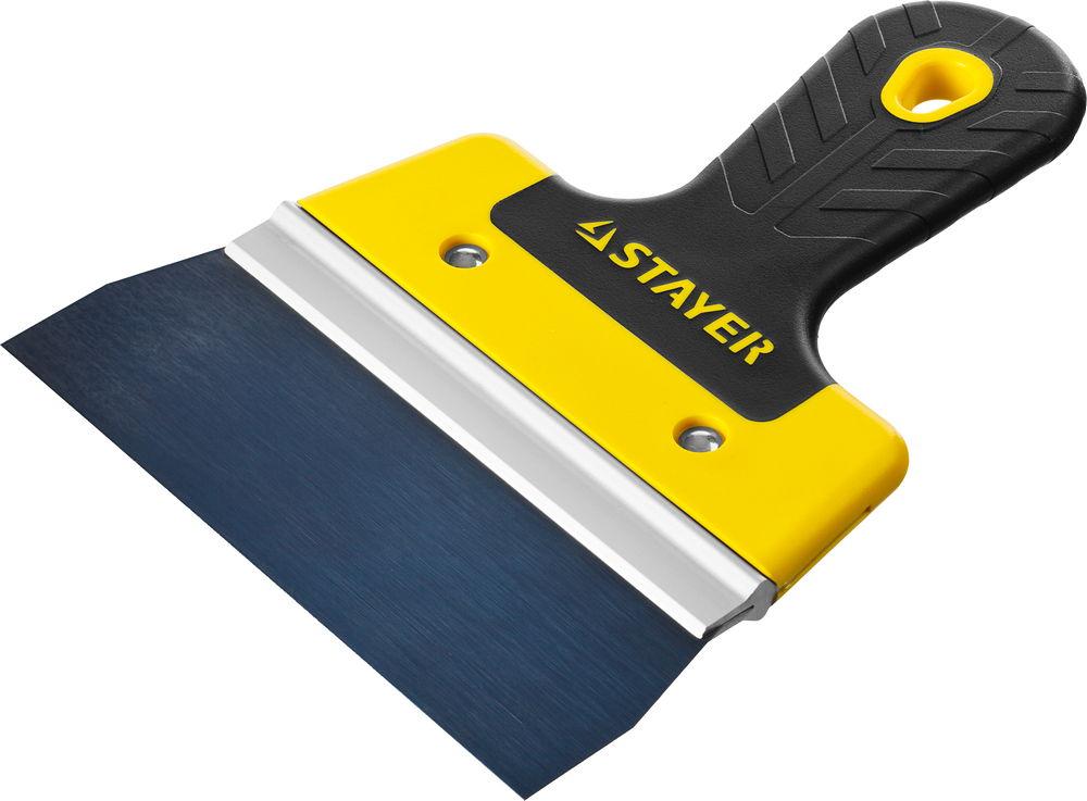 Шпатель фасадный Stayer Professional, 2к ручка, 150мм10045-15Шпатель STAYER PROFESSIONAL ФАСАДНЫЙ, анодированный, 2к ручка, 150мм