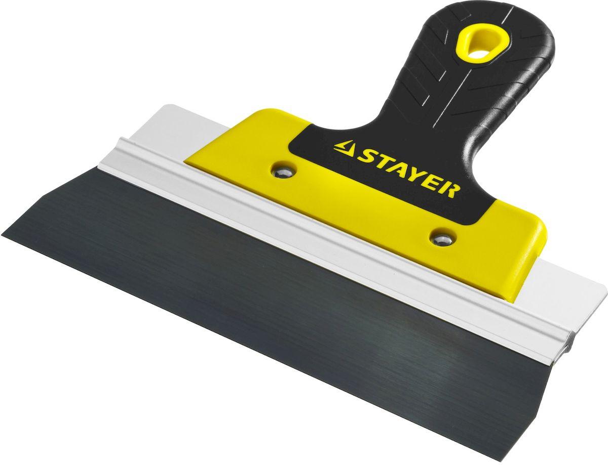 Шпатель фасадный Stayer Professional, 2к ручка, 200мм10045-20Шпатель STAYER PROFESSIONAL ФАСАДНЫЙ, анодированный, 2к ручка, 200мм