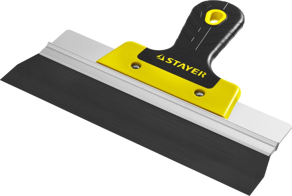 Шпатель фасадный Stayer Professional, 2к ручка, 250мм10045-25Шпатель STAYER PROFESSIONAL ФАСАДНЫЙ, анодированный, 2к ручка, 250мм