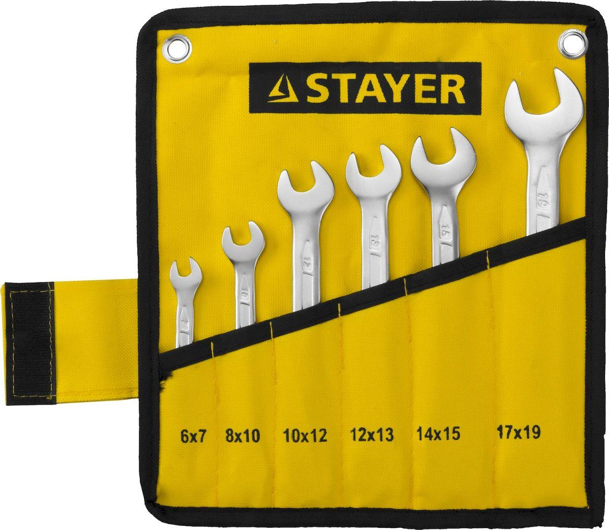 Набор рожковых гаечных ключей Stayer Profi, 6-19мм, 6шт27035-H6Набор: Ключ STAYER PROFI гаечный рожковый, Cr-V сталь, хромированный, 6-19мм, 6шт
