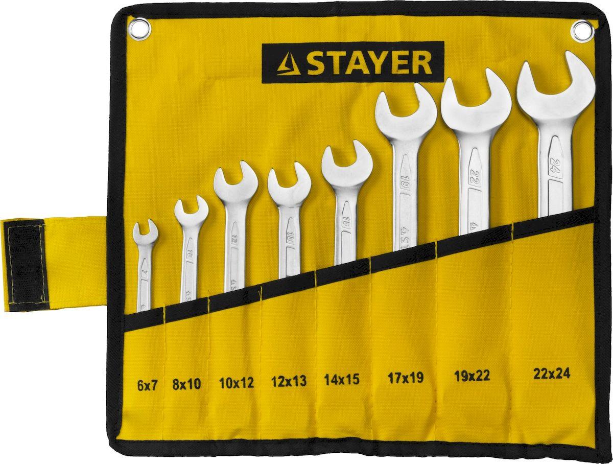 Набор рожковых гаечных ключей Stayer Profi, 6-24мм, 8шт27035-H8Набор: Ключ STAYER PROFI гаечный рожковый, Cr-V сталь, хромированный, 6-24мм, 8шт