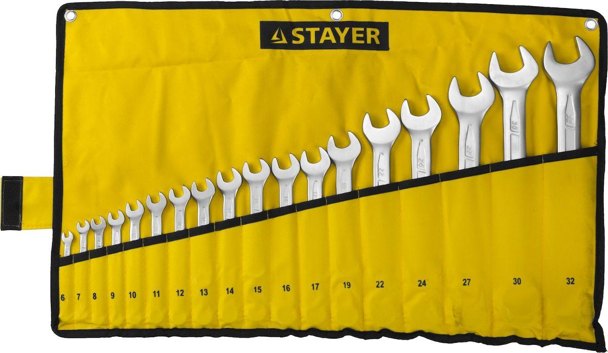 Набор комбинированных гаечных ключей Stayer Profi, 6-32мм, 18шт27081-H18Набор: Ключ STAYER PROFI гаечный комбинированный, Cr-V сталь, хромированный, 6-32мм, 18шт