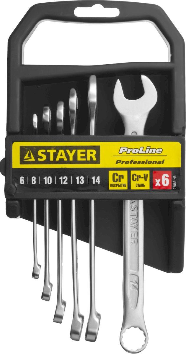 Набор комбинированных гаечных ключей Stayer Profi, 6-14мм, 6шт27083-H6Набор: Ключ STAYER PROFI гаечный комбинированный, Cr-V сталь, хромированный, 6-14мм, 6шт