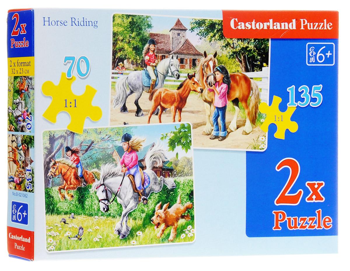 Castorland Пазл Верховая езда 2 в 1В-021062Пазл Castorland Верховая езда обязательно придется по душе всем маленьким любителям собирания пазлов. Собрав этот пазл, вы получите две картинки с изображением лошадей и их молодых наездниц. Первый пазл состоит из 70 элементов, второй - из 135. Пазлы - замечательная развивающая игра для детей. Пазлы Castorland - это высокий уровень полиграфии, четкие и красочные цвета, продуманные иллюстрации, уникальность формы каждой детали, разнообразие тематик. Собирание пазла развивает у ребенка мелкую моторику рук, тренирует наблюдательность, логическое мышление, знакомит с окружающим миром, с цветами и разнообразными формами, учит усидчивости и терпению, аккуратности и вниманию.