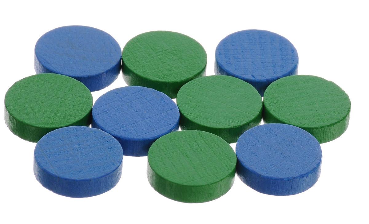 Pandoras Box Набор фишек Эко-стиль диаметр 15 мм цвет синий зеленый 10 шт06LZ021_синий, зеленыйНабор фишек Pandoras Box Эко-стиль предназначен для настольных игр. Фишки можно использовать для отметки уровня ресурсов жизни, победных очков при игре в настольные игры. В набор входят фишки синего и зеленого цветов. Фишки выполнены из натурального дерева и покрыты яркой краской. Набор содержит 10 фишек диаметром 1,5 см.