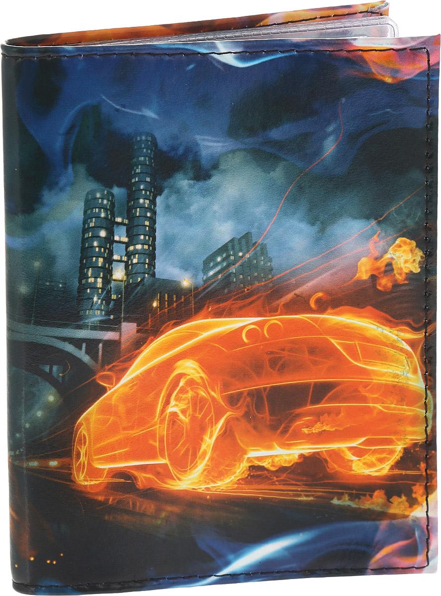 Обложка для автодокументов Driver, цвет: синий, оранжевый. ВДАОК2ВДАОК2Обложка для автодокументов Driver сделана из 100% натуральной кожи, высокого качества и имеет эксклюзивный яркий дизайн. Рисунок нанесен эко красителем и гипоаллергенен. Документы надежно фиксируются внутри при помощи двух прозрачных клапанов, внутренний блок состоит шести файлов из гибкого пластика, один из которых имеет формат А5. Также внутри находятся два клапана для SIM-карт и один клапан для банковской карты. Обложка оформлена красочным рисунком с изображением огненного автомобиля. Необычные обложки для автодокументов - это прекрасный способ поднять настроение не только себе, но и окружающим людям. Забавные рисунки и весёлые надписи непременно вызовут улыбку у каждого, кто увидит ваши документы. Также это прекрасный способ сделать оригинальный подарок, подобрав обложку, которая идеально подходит тому или иному человеку.