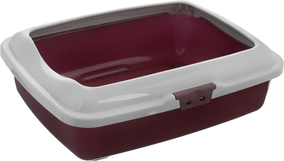 Туалет для кошек Marchioro Goa, с бортом, цвет: бордовый, серый, 43 х 33 х 14 см8006751346949Туалет для кошек Marchioro Goa изготовлен из высококачественного пластика. Высокий борт, прикрепленный по периметру лотка, удобно защелкивается и предотвращает разбрасывание наполнителя. Благодаря специальным резиновым ножкам туалет не скользит по полу.