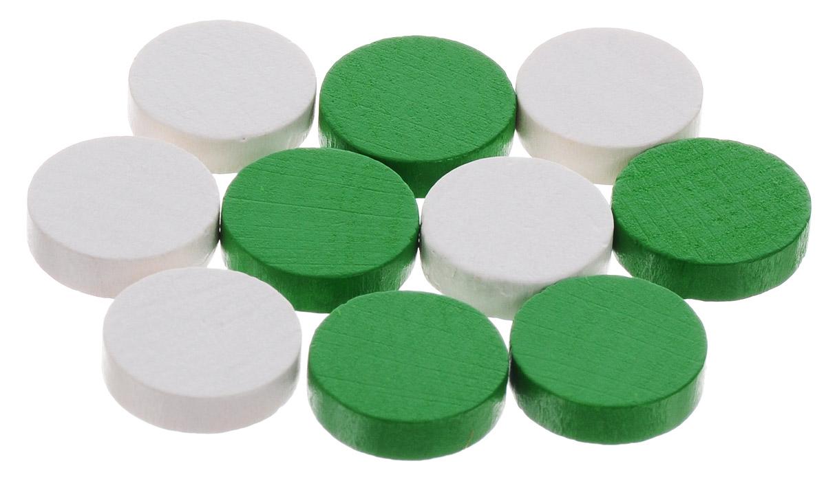 Pandoras Box Набор фишек Эко-стиль диаметр 15 мм цвет белый зеленый 10 шт06LZ021_белый, зеленыйНабор фишек Pandoras Box Эко-стиль предназначен для настольных игр. Фишки можно использовать для отметки уровня ресурсов жизни, победных очков при игре в настольные игры. В набор входят фишки белого и зеленого цветов. Фишки выполнены из натурального дерева и покрыты яркой краской. Набор содержит 10 фишек диаметром 1,5 см.