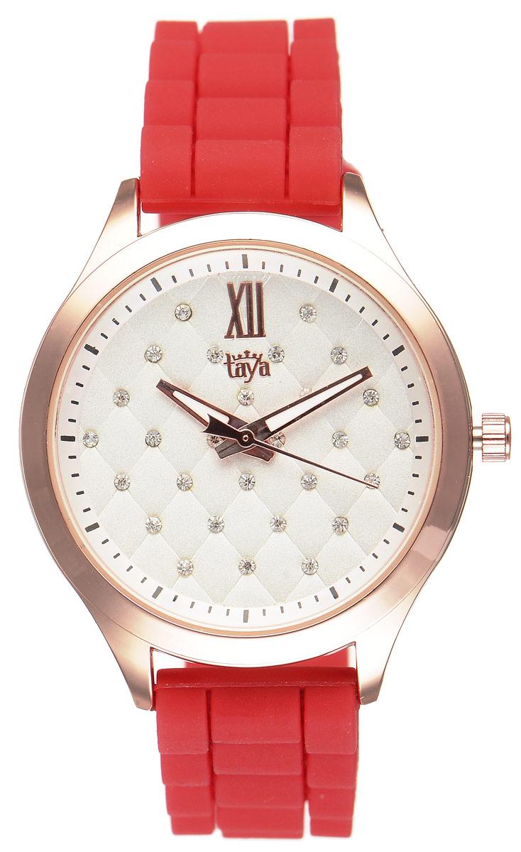 Часы наручные женские Taya, цвет: золотистый, красный. T-W-0201T-W-0201-WATCH-GL.REDСтильные женские часы Taya выполнены из минерального стекла, силикона и нержавеющей стали. Циферблат часов инкрустирован стразами и оформлен символикой бренда. На стрелки нанесен светящийся состав. Корпус часов оснащен кварцевым механизмом со сменным элементом питания, а также силиконовым ремешком с практичной пряжкой. Часы поставляются в фирменной упаковке. Часы Taya подчеркнут изящность женской руки и отменное чувство стиля у их обладательницы.