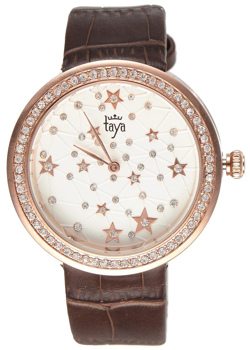 Часы наручные женские Taya, цвет: золотистый, коричневый. T-W-0041T-W-0041-WATCH-GL.BROWNСтильные женские часы Taya выполнены из минерального стекла, натуральной кожи и нержавеющей стали. Циферблат и корпус часов инкрустированы стразами. Корпус часов оснащен кварцевым механизмом со сменным элементом питания, а также ремешком из натуральной кожи, который застегивается на пряжку. Ремешок декорирован тиснением под кожу рептилии. Часы поставляются в фирменной упаковке. Часы Taya подчеркнут изящность женской руки и отменное чувство стиля у их обладательницы.