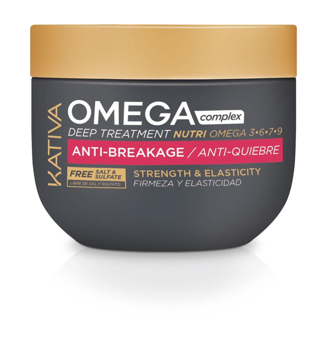 Kativa OMEGA COMPLEX Антистрессовая маска для поврежденных волос 250 мл65503296Питательная маска Kativa для восстановления поврежденных волос содержит комплекс омега-кислот и аминокислоты. Особая формула маски помогает вернуть волосам естественную красоту, блеск и шелковистость.