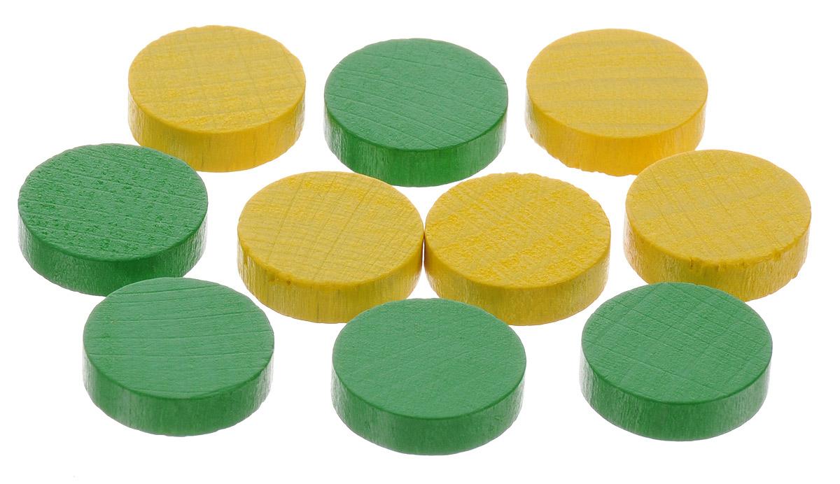 Pandoras Box Набор фишек Эко-стиль диаметр 15 мм цвет желтый зеленый 10 шт06LZ021_зеленый, желтыйНабор фишек Pandoras Box Эко-стиль предназначен для настольных игр. Фишки можно использовать для отметки уровня ресурсов жизни, победных очков при игре в настольные игры. В набор входят фишки желтого и зеленого цветов. Фишки выполнены из натурального дерева и покрыты яркой краской. Набор содержит 10 фишек диаметром 1,5 см.