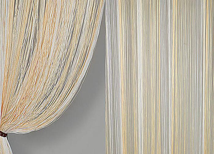 Штора нитяная Magnolia Кисея, цвет: белый, золотой, высота 300 см. XLF JGS 12159831Декоративная нитяная штора для дизайнерских решений в вашем доме. Подходит как для зонирования пространства, а так же декорации окна, как самостоятельное решение или дополнение к шторам.