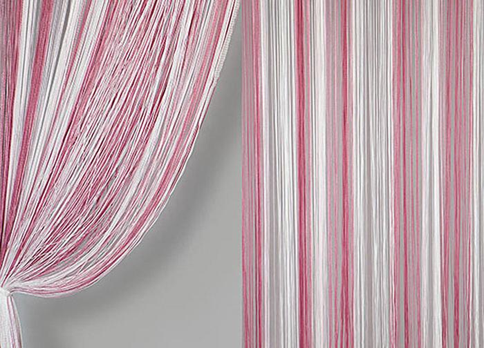 Штора нитяная Magnolia Кисея, цвет: белый, розовый, высота 300 см. XLF JGS 13259834Декоративная нитяная штора для дизайнерских решений в вашем доме. Подходит как для зонирования пространства, а так же декорации окна, как самостоятельное решение или дополнение к шторам.