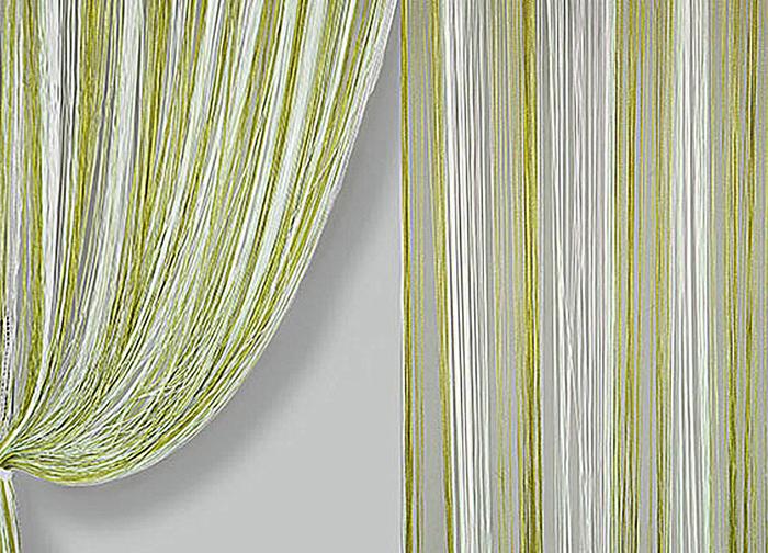 Штора нитяная Magnolia Кисея, цвет: белый, зеленый, высота 300 см. XLF JGS 13659836Декоративная нитяная штора для дизайнерских решений в вашем доме. Подходит как для зонирования пространства, а так же декорации окна, как самостоятельное решение или дополнение к шторам.