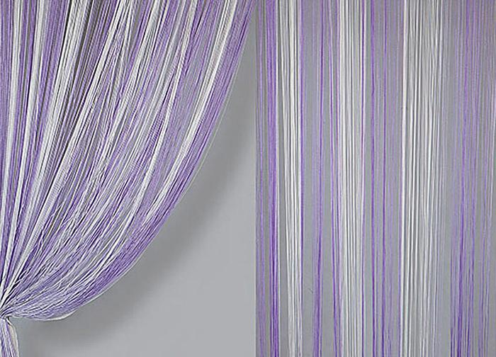 Штора нитяная Magnolia Кисея, цвет: белый, фиолетовый, высота 300 см. XLF JGS 13859838Декоративная нитяная штора для дизайнерских решений в вашем доме. Подходит как для зонирования пространства, а так же декорации окна, как самостоятельное решение или дополнение к шторам.