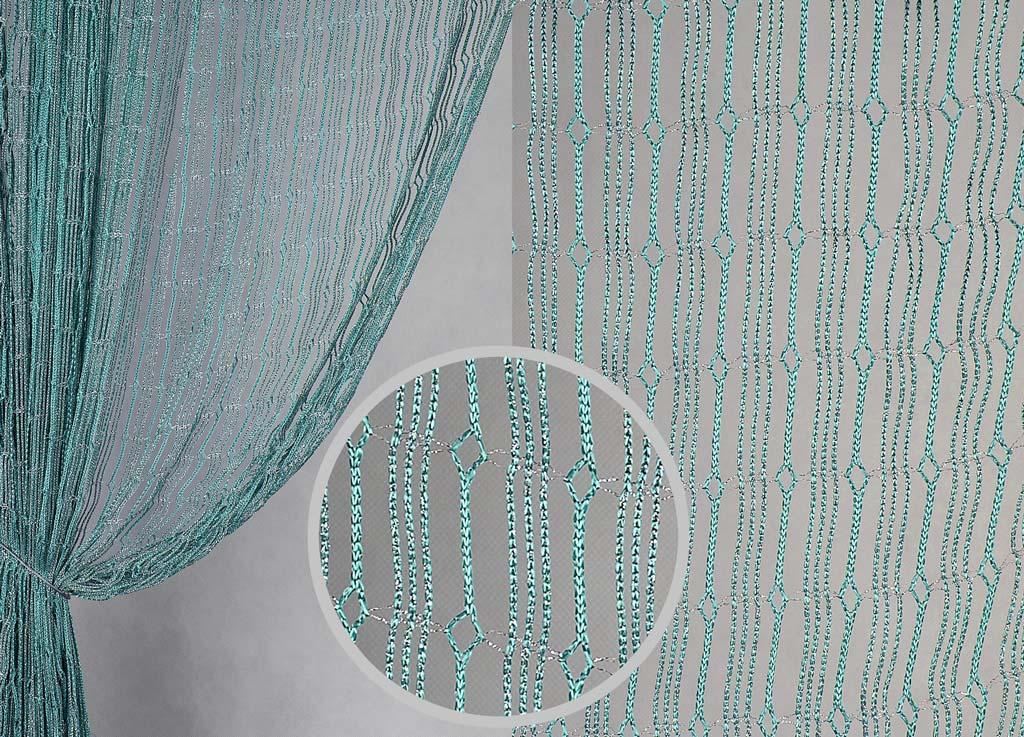 Штора нитяная Magnolia Кисея, цвет: бирюза, высота 300 см. XLF JW-9808-A169339Декоративная нитяная штора для дизайнерских решений в вашем доме. Подходит как для зонирования пространства, а так же декорации окна, как самостоятельное решение или дополнение к шторам.