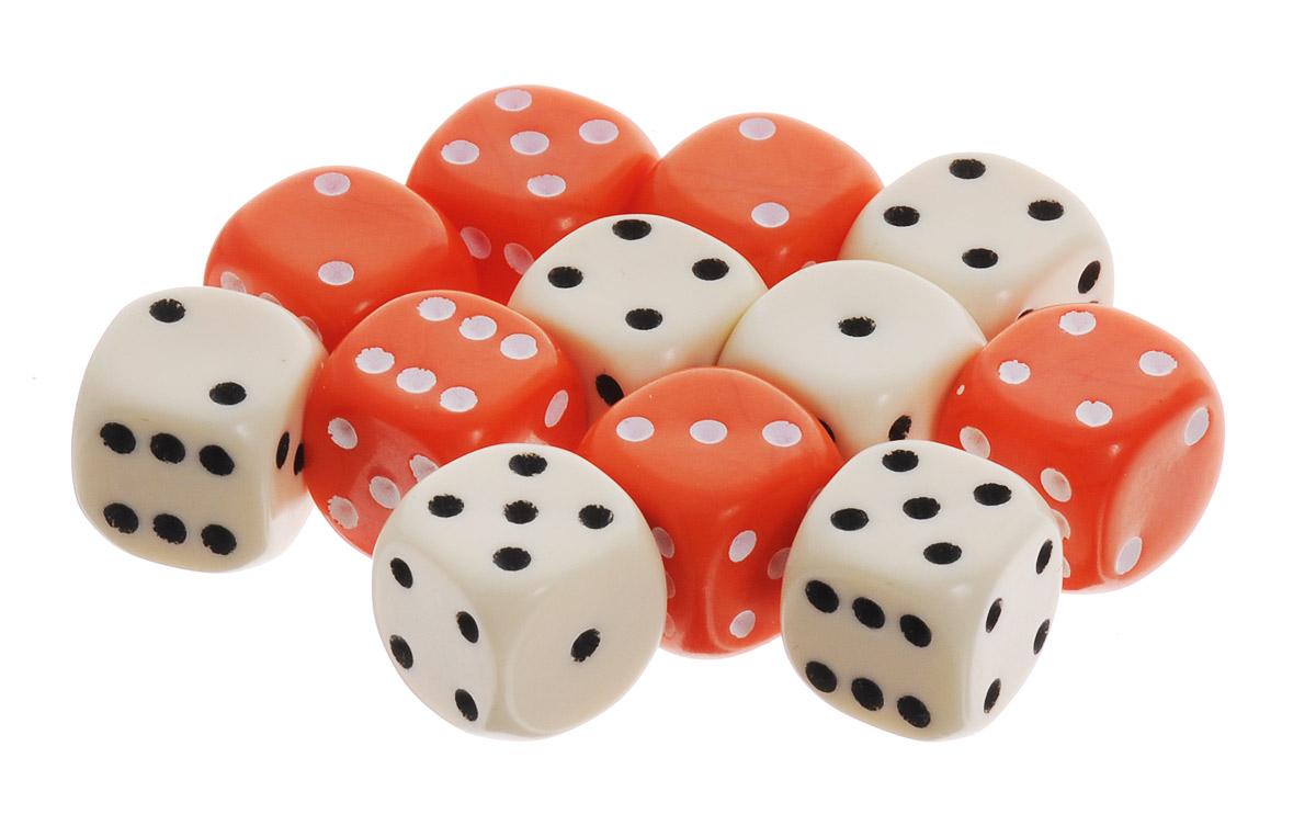 Pandoras Box Набор кубиков для настольных игр цвет оранжевый белый 12 шт02DG151_оранжевый, белыйНабор игральных кубиков Pandoras Box предназначен для настольных игр. Набор состоит из 12 шестигранных кубиков. На каждую сторону кубика нанесены в виде точек числа от 1 до 6. Целью броска кубика является демонстрация случайно определенного числа, каждое из которых является равновозможным благодаря правильной геометрической форме. Игральные кубики выполнены из прочного пластика.