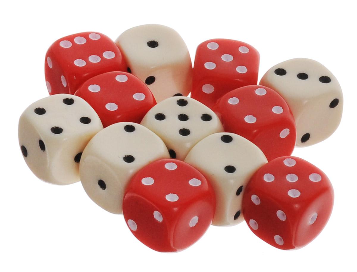 Pandoras Box Набор кубиков для настольных игр цвет красный молочный 12 шт02DG151_красный, белыйНабор игральных кубиков Pandoras Box предназначен для настольных игр. Набор состоит из 12 шестигранных кубиков. На каждую сторону кубика нанесены в виде точек числа от 1 до 6. Целью броска кубика является демонстрация случайно определенного числа, каждое из которых является равновозможным благодаря правильной геометрической форме. Игральные кубики выполнены из прочного пластика.