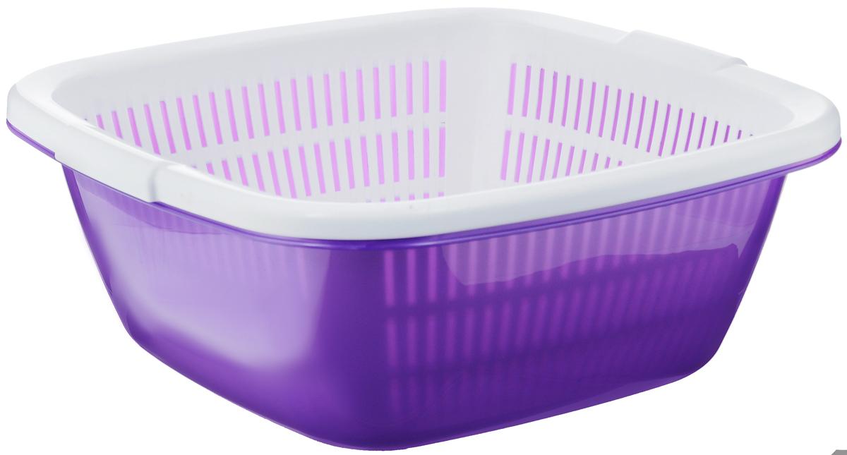 Дуршлаг квадратный Dunya Plastik, с поддоном, цвет: фиолетовый, белый, 9,5 л10226_фиолетовый, белыйДуршлаг квадратный Dunya Plastik, изготовленный из пластика, станет полезным приобретением для вашей кухни. Он идеально подходит для процеживания, ополаскивания и стекания макарон, овощей, фруктов. Дуршлаг оснащен поддоном, устойчивым основанием и удобными ручками по бокам. Размер дуршлага по верхнему краю (с учетом ручек): 33,5 см х 35 см. Внутренний размер дуршлага: 29,5 см х 29,5 см. Высота стенки дуршлага: 14 см. Размер поддона: 33,5 см х 33,5 см х 13,5 см.