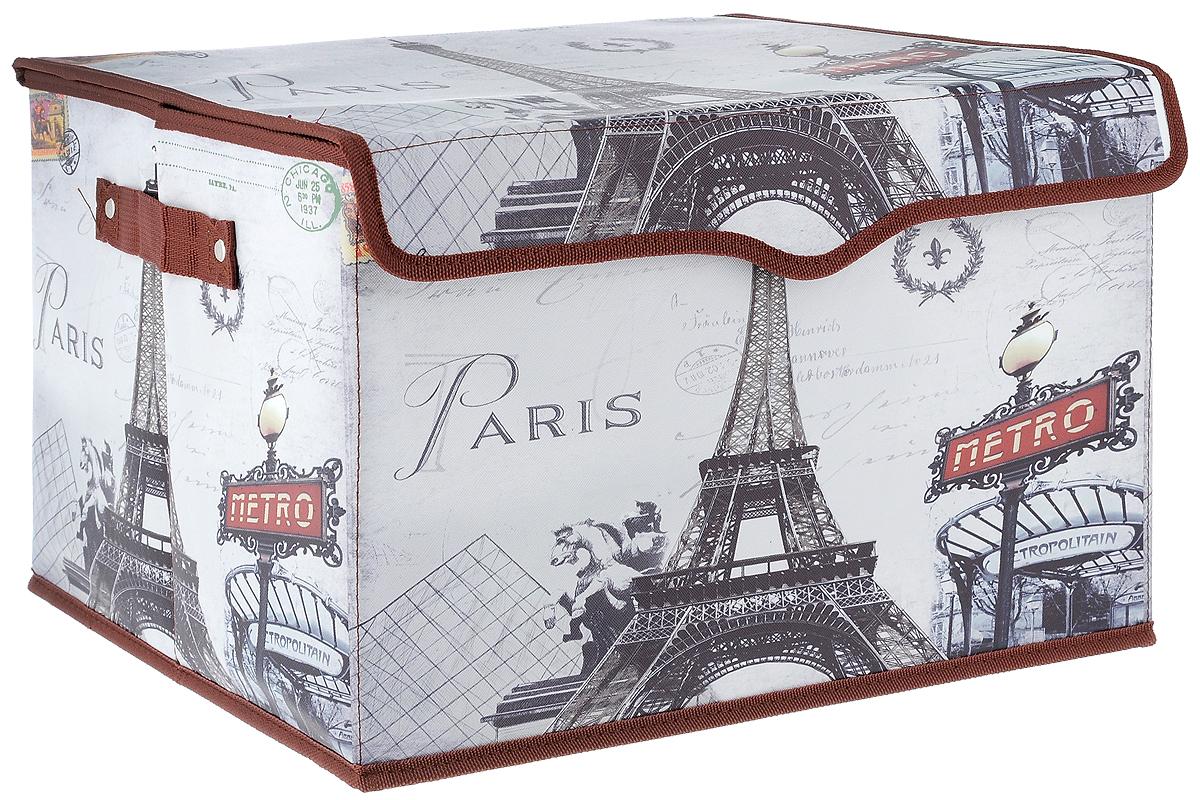 Кофр для хранения El Casa Париж - Метро, 41 х 36 х 26 см. 171142171142_коричневый, светло-серыйКофр El Casa Париж - Метро, выполненный из экокожи, имеет жесткий каркас из МДФ и снабжен откидной крышкой, которая закрывается на липучку. Так же по бокам имеются две ручки, предназначенные для комфортной переноски. Изделие имеет стильный внешний вид и декорировано изображением Эйфелевой башни. В таком кофре можно хранить всевозможные предметы: книги, игрушки, рукоделие и многое другое. Яркий запоминающий дизайн кофра привнесет в ваш интерьер неповторимый шарм. Кофр El Casa Париж - Метро - компактное и красивое решение для хранения вещей дома или на даче.