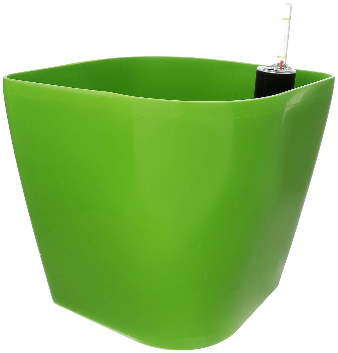 Горшок цветочный Tescoma Sense, с самополивом, цвет: зеленый, 20 х 20 х 20 см899040_зеленыйЦветочный горшок Tescoma Sense изготовлен из прочного пластика. Снабжен системой самополива, которая позволяет растению получать влагу из нижней части горшка непрерывно. Необходимо наполнять резервуар раз в 4-8 недель. Горшок подходит для выращивания растений и кактусов, имеет индикатор уровня воды. Горшок и разделительную сетку можно мыть в посудомоечной машине; не мыть индикатор уровня воды в посудомоечной машине. Инструкция по применению прилагается.