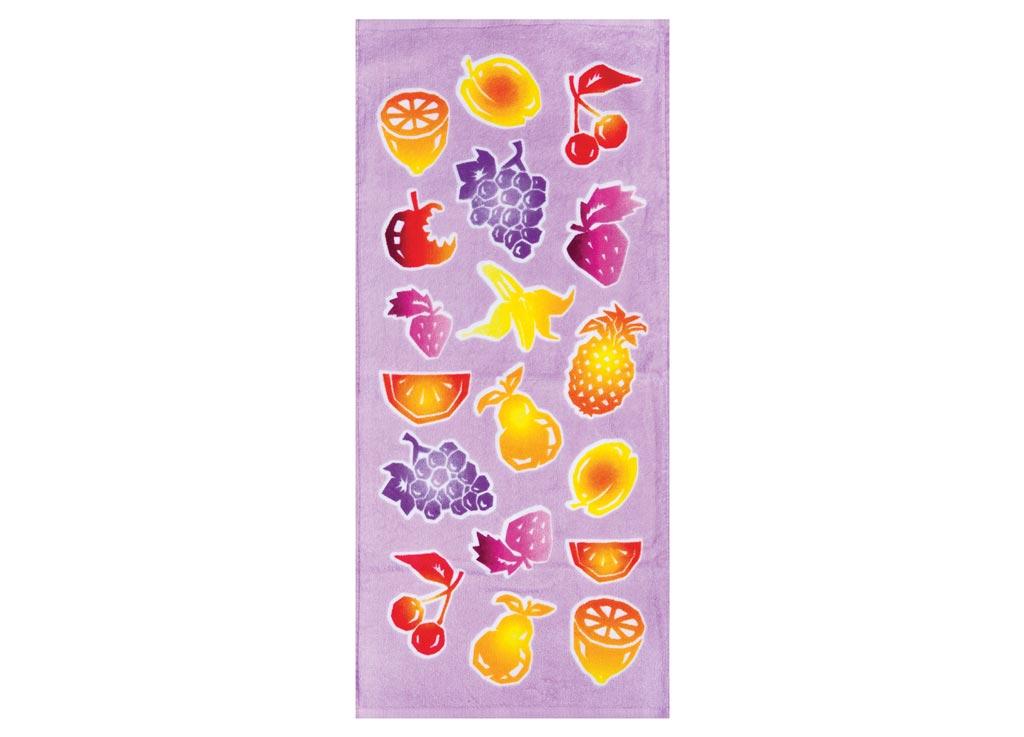 Полотенце Soavita Фрукты, 34х76 см, цвет: сиреневый87454Перед использованием постирать при температуре не выше 40 градусов