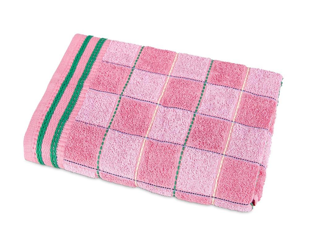 Полотенце Soavita Premium Шахматы, 68х135 см, цвет: розовый87481Перед использованием постирать при температуре не выше 40 градусов
