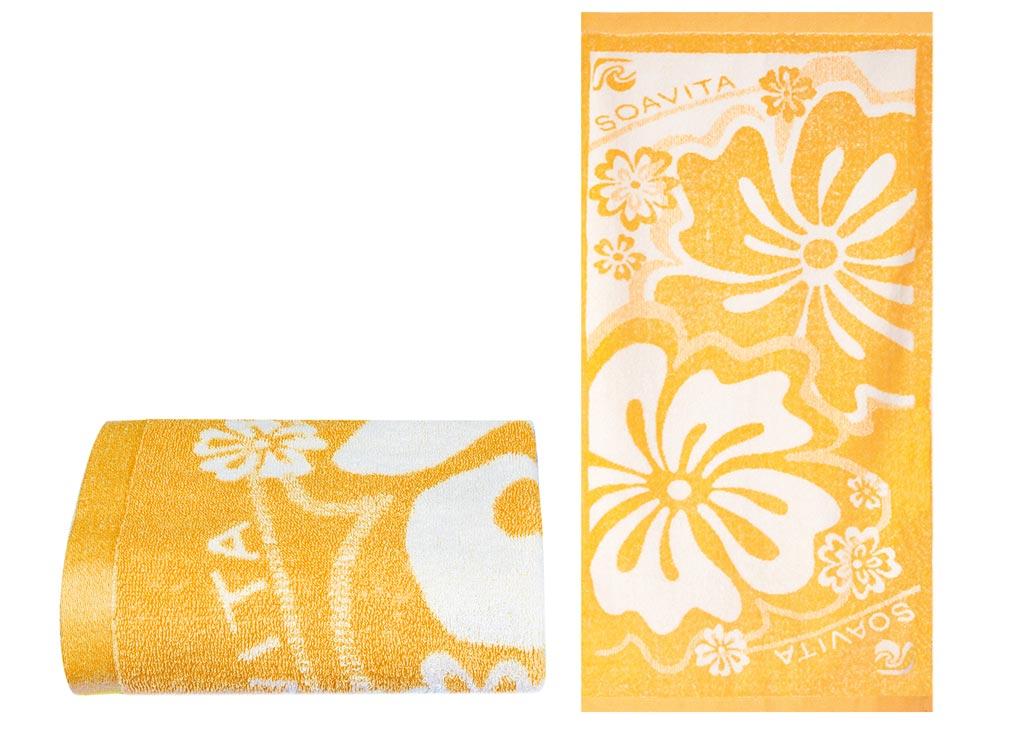 Полотенце Soavita Цветы, 68х135 см, цвет: оранжевый87502Перед использованием постирать при температуре не выше 40 градусов