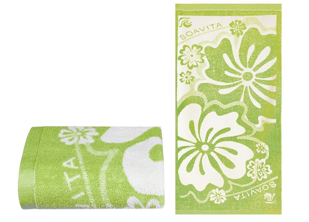 Полотенце Soavita Цветы, 68х135 см, цвет: свело-зеленый87503Перед использованием постирать при температуре не выше 40 градусов