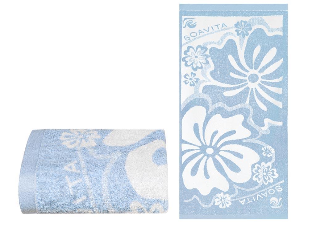 Полотенце Soavita Цветы, 45х90 см, цвет: голубой87507Перед использованием постирать при температуре не выше 40 градусов