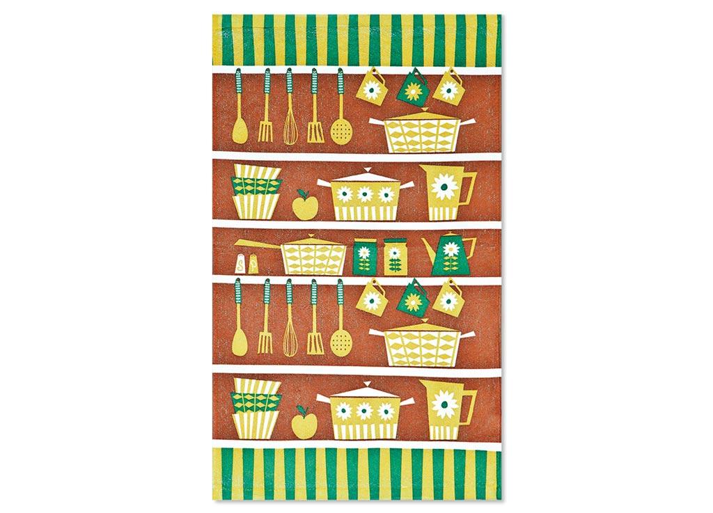 Салфетка Soavita Кухонная Утварь, 38х64 см, цвет: коричневый, оливковый, зеленый87582Перед использованием постирать при температуре не выше 40 градусов