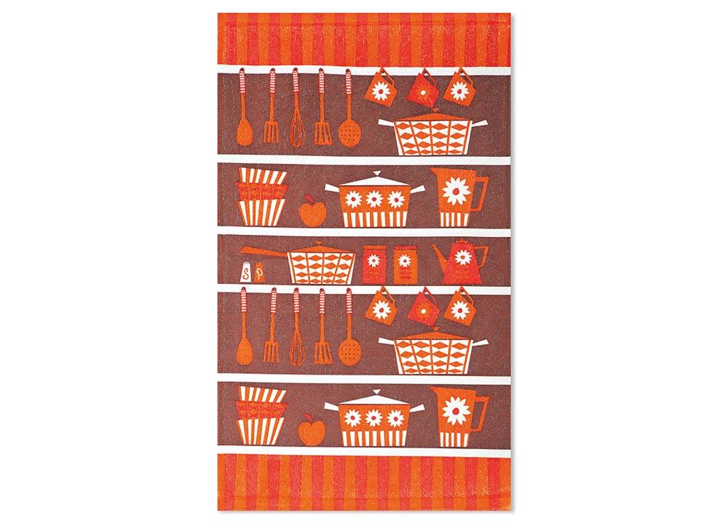 Салфетка Soavita Кухонная Утварь, 38х64 см, цвет: коричневый, терракот, красный87584Перед использованием постирать при температуре не выше 40 градусов