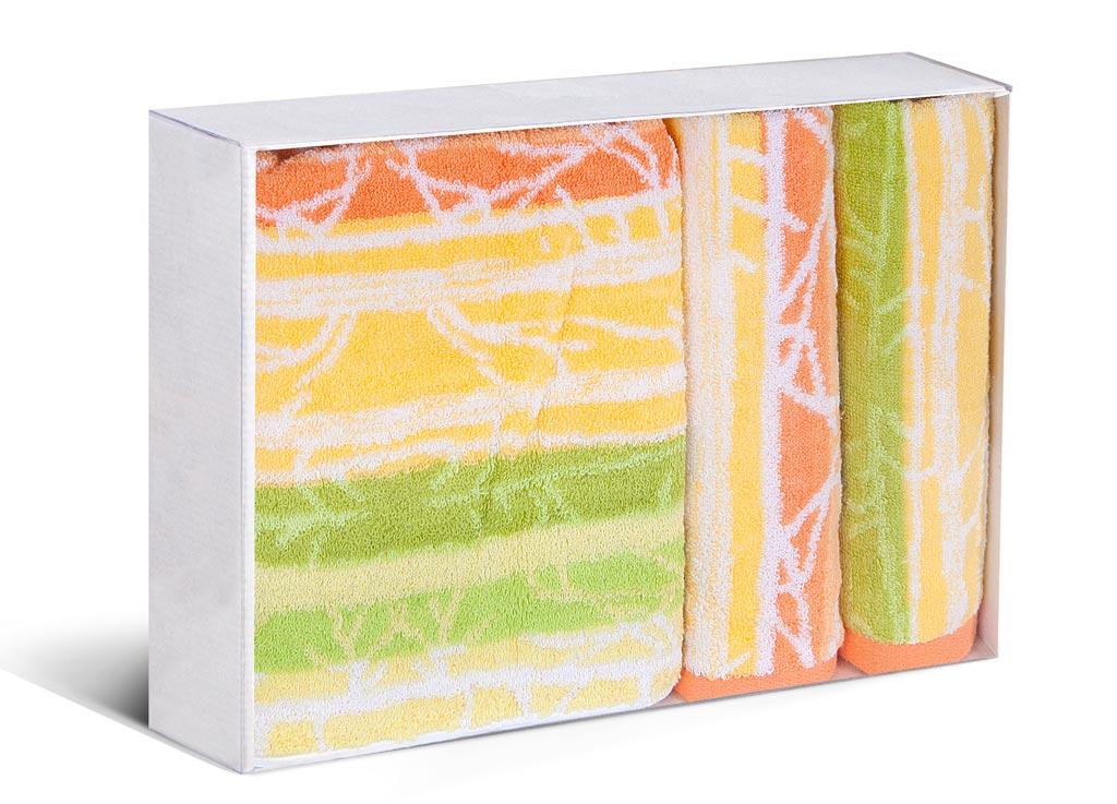Комплект полотенец Soavita Premium Интер, 33х76 см, 45х90 см, 60х120 см, цвет: желтый, зеленый87586Перед использованием постирать при температуре не выше 40 градусов