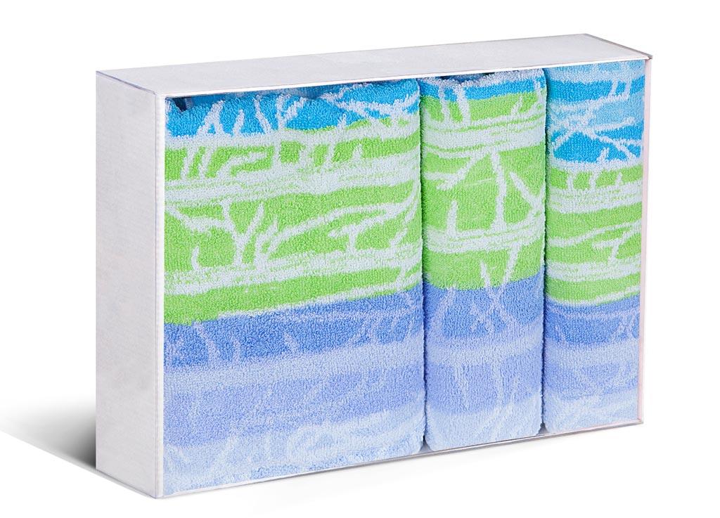 Комплект полотенец Soavita Premium Интер, 33х76 см, 45х90 см, 60х120 см, цвет: голубой, зеленый87587Перед использованием постирать при температуре не выше 40 градусов