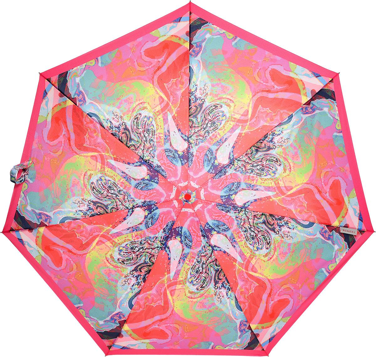 Bisetti 35153-1 Зонт полный автом. 3 сл. жен.35153-1Зонт испанского производителя Clima. В производстве зонтов используются современные материалы, что делает зонты легкими, но в то же время крепкими.Полный автомат, 3 сложения, 8 спиц по 54см, полиэстер.