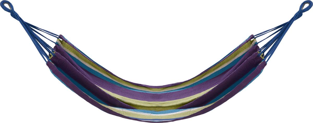 Гамак полотняный KingCamp, цвет: желтый, фиолетовый, синий, 200 см х 100 смУТ-00006600_желтый, фиолетовый, белыйПрочный и компактный гамак KingCamp внесет дополнительный комфорт в ваш отдых. Выполнен из высококачественного хлопка и полиэстера. Кольца из прочной стали. Дача, лето, свежий воздух, отдых после тяжелой работы, возможность побыть наедине с природой, насладиться запахами листвы и цветов, солнечным светом, пробивающимся сквозь кроны деревьев - все эти приятные мысли и эмоции пробуждаются в нас при взгляде на один очень простой предмет - гамак. К гамаку прилагается чехол для удобного хранения. Размер гамака: 200 см х 100 см.