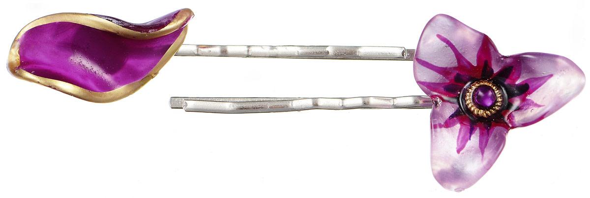 Невидимки для волос Lalo Treasures, цвет: серебряный, сиреневый, 2 шт. HP4591HP4591Яркие дизайнерские невидимки от Lalo Treasures станут отличным дополнением к вашему стилю. Они выполнены из качественной ювелирной смолы и металлического сплава. Декоративный элемент одной невидимки выполнен в виде лепесточка, другой - в виде цветка. Преимущество этой невидимки заключается в том, что благодаря декоративному украшению ее трудно потерять. Невидимки удобно надеваются, не мокнут и хорошо фиксируют волосы. Оригинальный дизайн позволит вашей причёске выглядеть интересней.