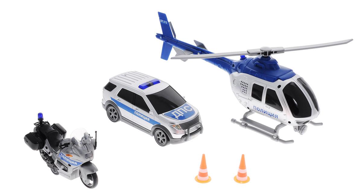Dickie Toys Игровой набор Полиция3313323Игровой набор Dickie Toys Полиция - это мотоцикл, машина и вертолет для ролевой игры в спасателей. Мальчишки обожают подобные развлечения, поэтому им точно понравится этот набор. Он поможет развить фантазию и внимательность ребенка, а также научить его логике и мышлению. Элементы набора имеют реалистичный дизайн и яркое оформление. На изделиях нанесены все опознавательные знаки и название службы. У вертолета имеются световые и звуковые эффекты, а также вращается винт. Кроме того, все модели оснащены фрикционным механизмом. В наборе имеются 2 дорожных знака. Рекомендуется докупить 2 батарейки напряжением 1,5V типа АА (товар комплектуется демонстрационными).