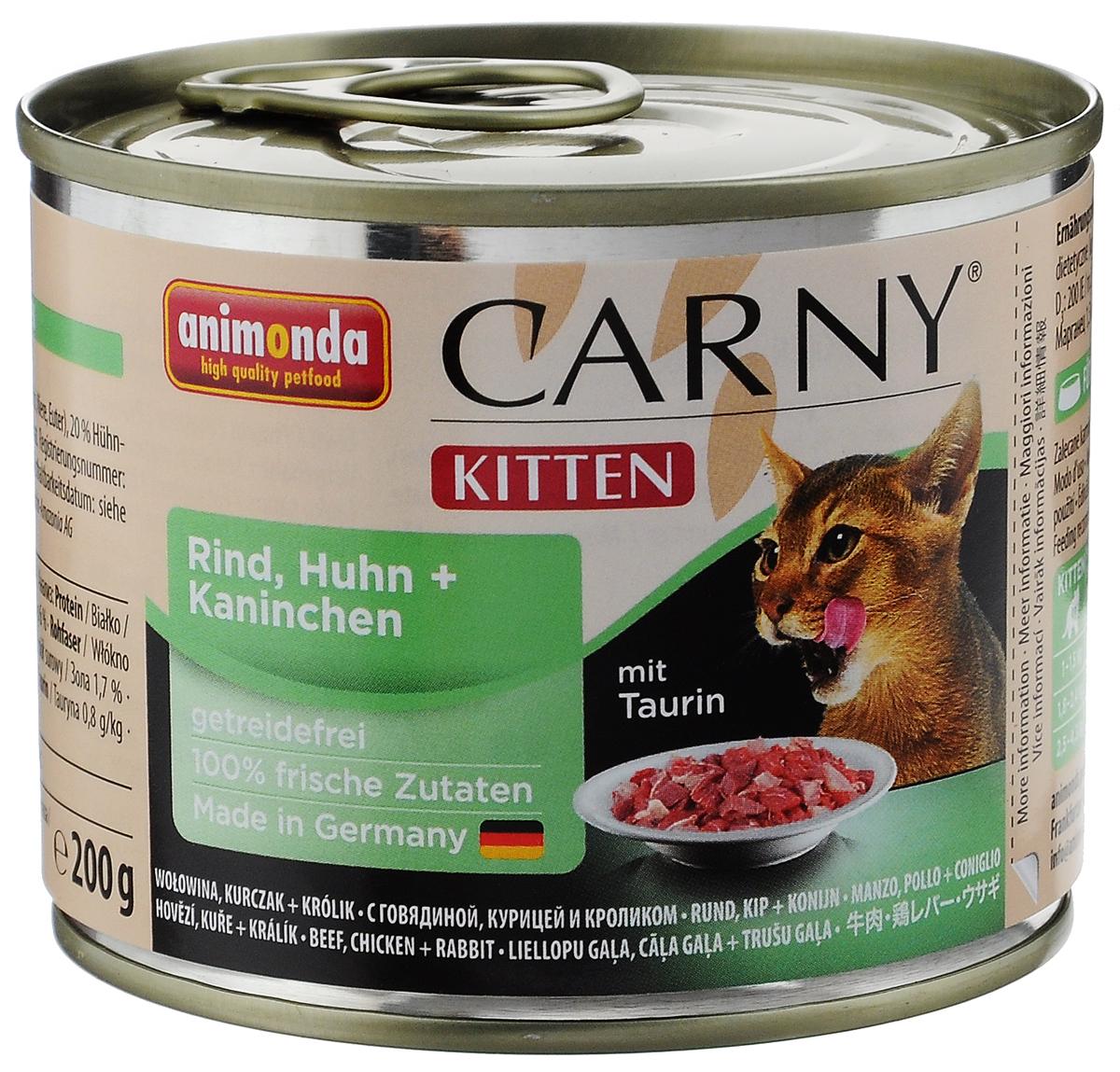 Консервы для котят Animonda Carny, с курицей, говядиной и кроликом, 200 г47146_новый дизайнКонсервы Animonda Carny - это качественный полноценный мясной обед. Приготовлен из исключительно отборного и высококачественного мяса. Не содержит сои, искусственных красителей, консервантов, генетически модифицированных продуктов. Имеет тот естественный, настоящий и типичный вкус мяса, который кошки любят больше всего. Добавки на 1 кг: витамин D3 200 IE, E2 0,2 мг, Е5 1,5 мг, Е6 10 мг, йод 0,2 мг, марганец 1,5 мг, цинк 10 мг. Анализ: белок 11%, жир 6%, сырая клетчатка 0,3%, зола 1,7%, влажность 80%, таурин 0,8 г/кг. Товар сертифицирован.