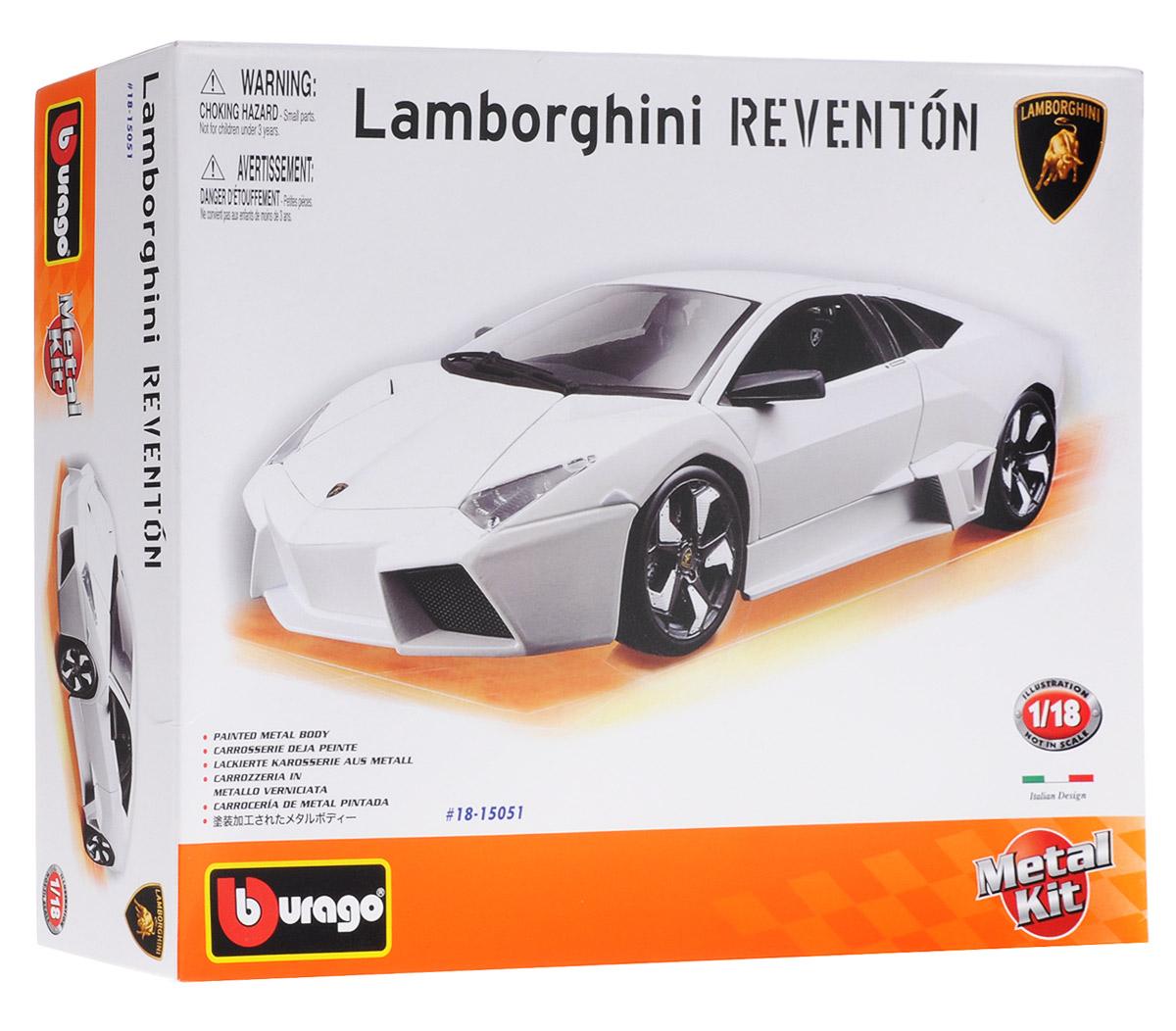 Bburago Сборная модель автомобиля Lamborghini Reventon цвет белый18-15051Сборная модель автомобиля Bburago Lamborghini Reventon привлечет к себе внимание не только детей, но и взрослых. Модель представлена в масштабе 1:18 и в точности воспроизводит все детали внешнего облика реального автомобиля. Корпус автомобиля выполнен из металла с использованием пластиковых элементов. Модель оборудована открывающимися дверцами, капотом и багажником. Во время игры с такой машинкой у ребенка развивается мелкая моторика рук, фантазия и воображение. В комплекте: элементы для сборки модели, наклейки и схематичная инструкция по сборке. Модель собирается без использования клея.