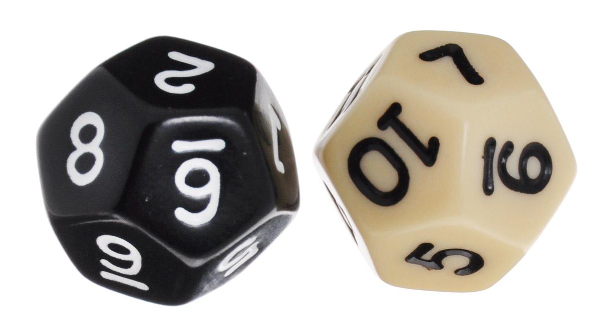 Koplow Games Набор игральных костей Простые D12 цвет молочный черный 2 шт2735_молочный черныйНабор игральных костей Koplow Games Простые D12 предназначен для настольных игр. Набор состоит из двух двенадцатигранных костей. На каждую грань игральной кости нанесены числа от 1 до 12. Целью игральной кости является демонстрация случайно определенного числа, каждое из которых является равновозможным благодаря правильной геометрической форме. Игральные кости выполнены из прочного пластика.