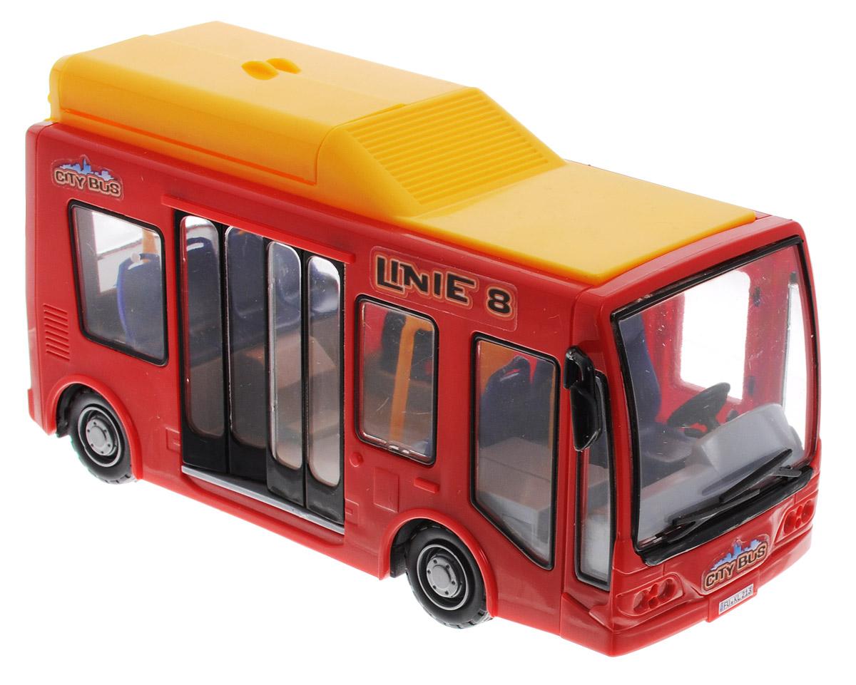 Dickie Toys Городской автобус цвет красный желтый3823003Городской автобус Dickie Toys непременно понравится каждому ребенку, который неравнодушен к технике. Двери транспортного средства открываются, что позволяет разглядеть сиденья внутри, а также кабину водителя. На верхней части игрушки имеется багажный отсек, который можно распахнуть. Автобус быстро набирает скорость за счет фрикционного механизма движения. Корпус автобуса изготовлен из высококачественного сертифицированного для производства детских игрушек пластика, поэтому абсолютно безопасен для здоровья ребенка.