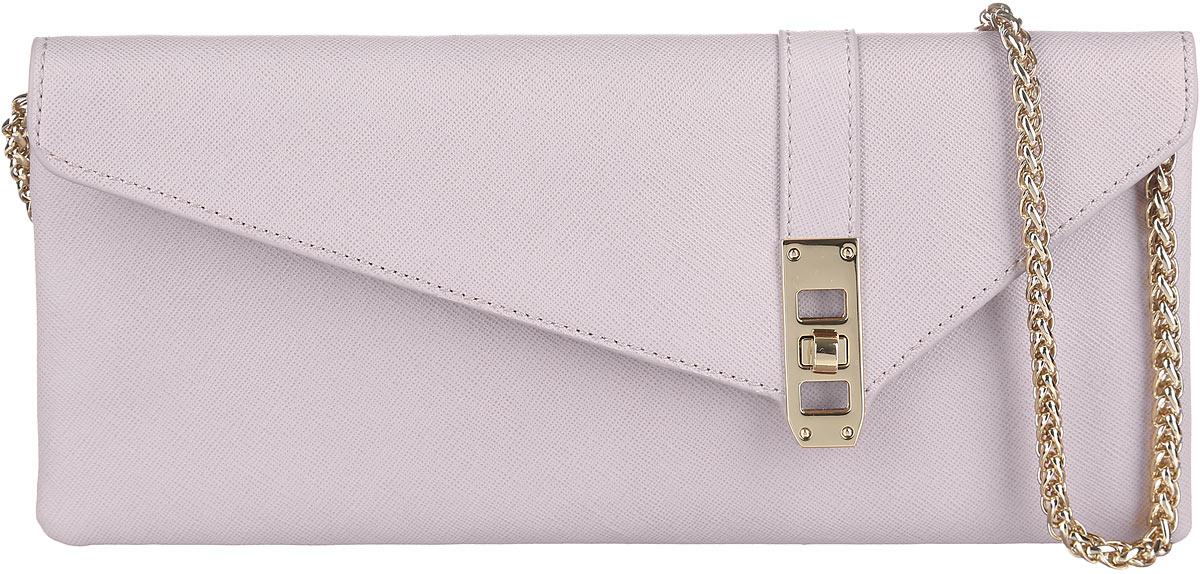 Сумка-клатч женская Leo Ventoni, цвет: бледно-розовый. LV6044LV6044-greyСтильная женская сумка-клатч Leo Ventoni выполнена из натуральной кожи с фактурным тиснением. Изделие содержит одно отделение, которое закрывается клапаном на застежку-вертушку. Внутри расположен один врезной карман на молнии. Снаружи, на задней стороне сумки, расположен врезной карман на магнитной застежке. Сумка оснащена удобным плечевым ремнем, который выполнен в виде цепочки. Оригинальный аксессуар позволит вам завершить образ и быть неотразимой.